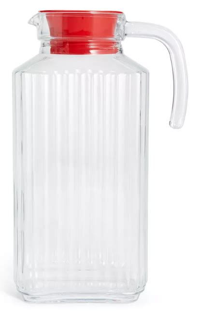 martha stewart collection glass pitcher  red lid    curbside pickup reg