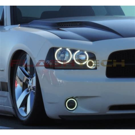 dodge charger white led halo fog light kit 2005 2010
