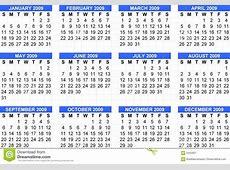 Calendario 2009, Comienzo Domingo Stock de ilustración