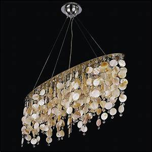 Oval chandelier with oyster shell and crystal seaside