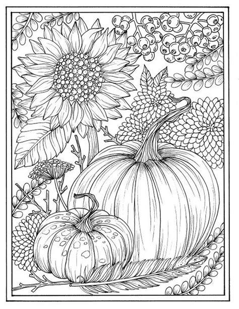 instant  fall pumpkins  flowers digital coloring page coloring page crafting page
