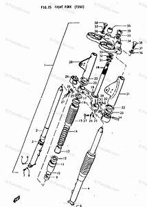 Suzuki Motorcycle 1970 Oem Parts Diagram For Front Fork