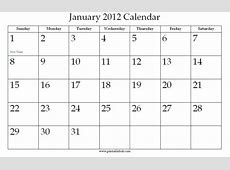 January 2012 Calendar Printable » Calendar Template 2018