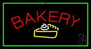 Bakery Logo Rectangle Green Neon Sign