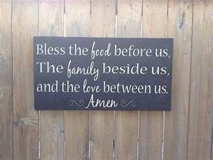 bless the food family and love wood typography sign With best brand of paint for kitchen cabinets with pittsburgh penguins wall art