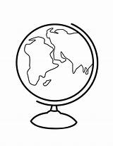 Globe Coloring Clipart Pages Printable Drawing Line Cliparts Sphere Earth Clip Library sketch template