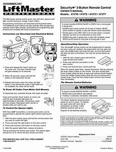 Chamberlain Liftmaster Security  973tb Owner U0026 39 S Manual Pdf
