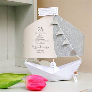 25th silver wedding anniversary paper boat card by the With silver wedding anniversary ideas