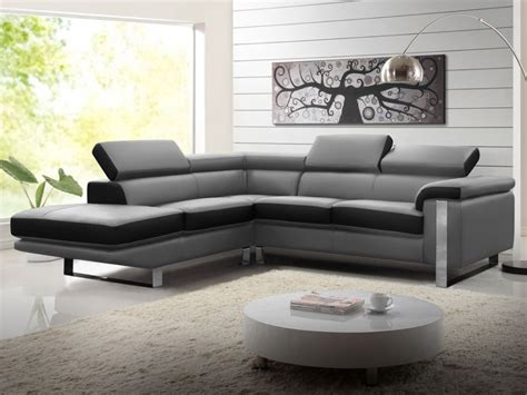 canapé d angle bicolore canapé d 39 angle en cuir de vachette 4 coloris mystique