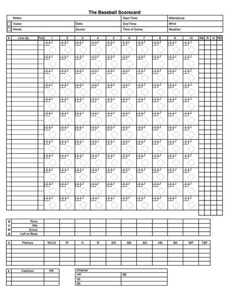 baseball score sheets  printable word excel
