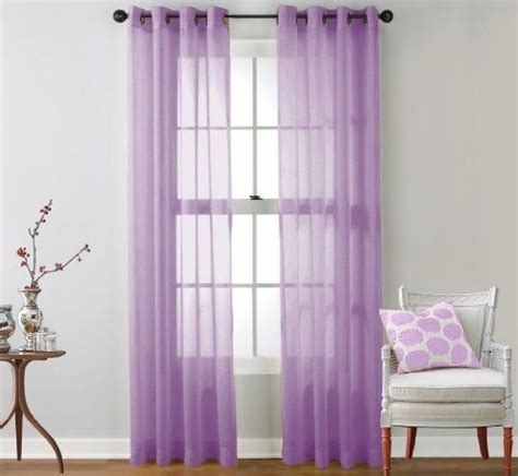 hlc me 2 sheer window curtain grommet panels lilac