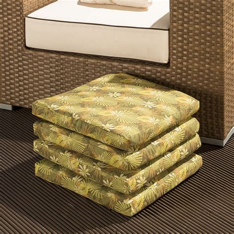 set of 4 large outdoor garden dining chair cushion green
