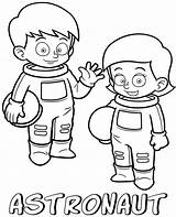 Coloring Astronauts Printable Children Professions Cartoon sketch template