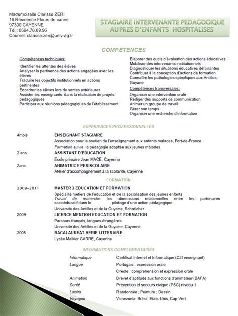 Ecrit Cv Francais by Curriculum Vitae En Francais Pour Enseignant