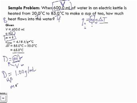 Specific Heat Capacity Sample Problem 1 Youtube