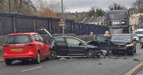 Three-car Crash Blocks Road In Plymouth