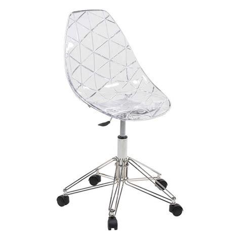 chaise de bureau transparente chaise design sur roulettes coque transparente et métal