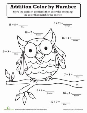 1st grade math addition coloring worksheet coloring pages grade addition animals worksheets