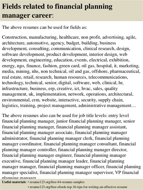 top 8 financial planning manager resume sles