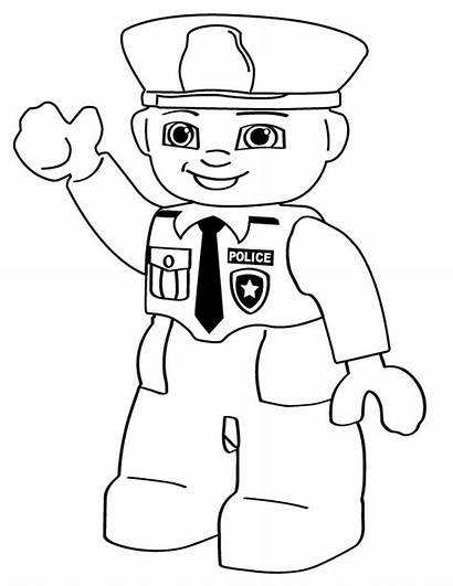 Police Coloring Lego Pages Person Printable Cartoon