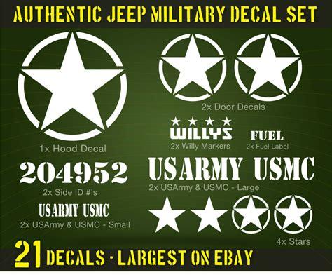 jeep decal set 21 us army usmc willys circle yj jk cj colors ebay