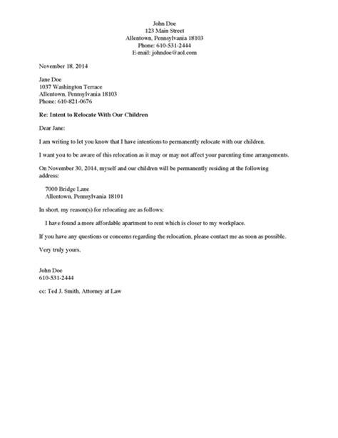 divorce source letter   custodial parent  intent