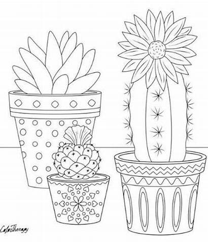 Coloring Pages Cactus Trendy Embroidery Pattern Flower