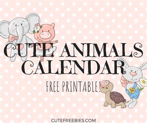 cute calendar  animals cute freebies
