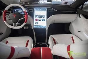 interior: Red Interior Tesla Model X