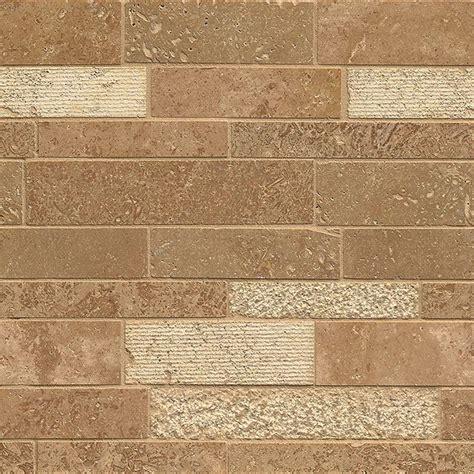 tilecrest travertine random linear mosaic noce