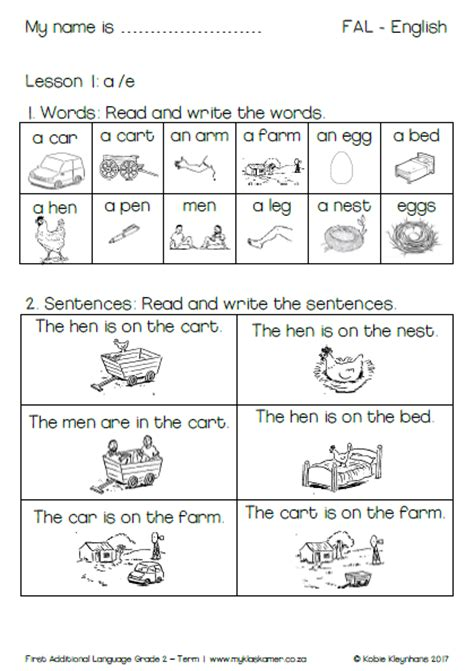 worksheets english first additional language learning to read and write book grade 2 term 1 187 my