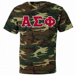 fraternity sorority lettered camouflage t shirt With sorority sewn on letters