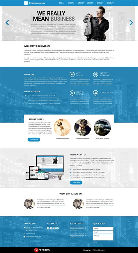 idesign onepage psd template web design psd templates