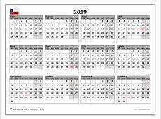 Calendario 2019, Chile