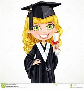 Cute Girl In Cap Holding A Scroll Diploma Stock Vector ...