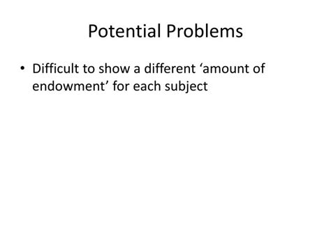 Potential Problems by Ppt Micro Analysis Of The Endowment Effect Anomaly