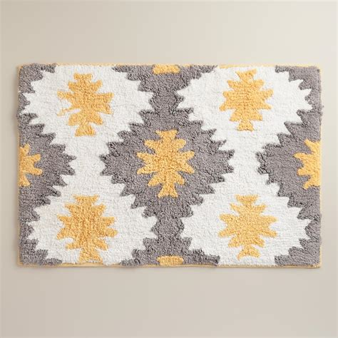 yellow gray bathroom rugs yellow and gray aztec bath mat world market