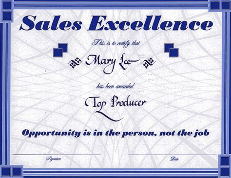sales award template sales award