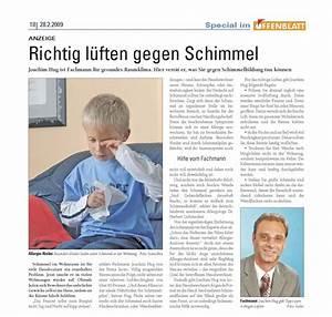 Lüften Gegen Schimmel : lokalpresse isotec abdichtungstechnik joachim hug hohberg ~ Markanthonyermac.com Haus und Dekorationen