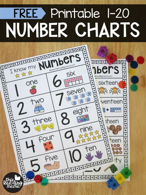 free printable charts and posters for preschool and 507 | FREE Printable Numbers 1 20 Number Charts This Reading Mama