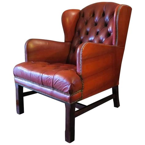 vintage tufted chesterfield wingback in warm brown leather