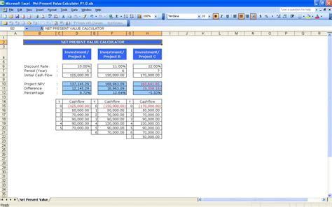 template net net present value calculator excel templates