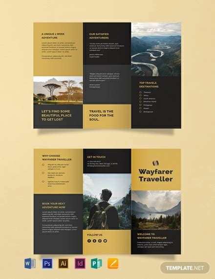 tri fold travel brochure template word  psd