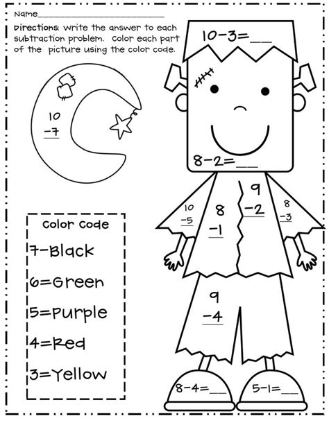 subtraction color by number pin by crowder on math