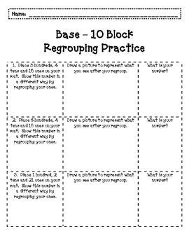 students follow  directions  regroup base ten blocks