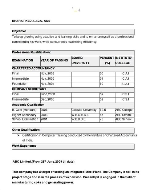 An Excellent Resume Format by Excellent Resume Format Free Sles Exles Format