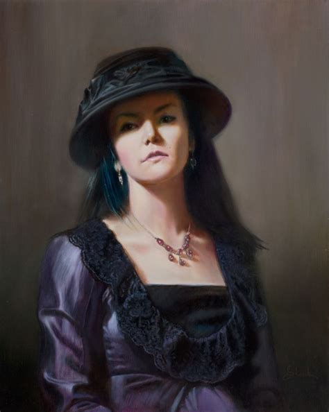 Modern Day Masters Portraiture by On Canvas 16x20 Elora In Purple Dress By Albert Slark