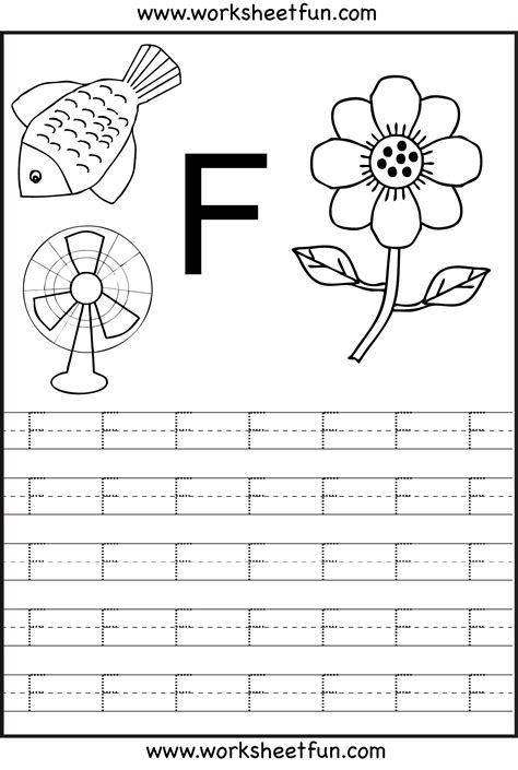 alphabet tracing letter f coloring pages