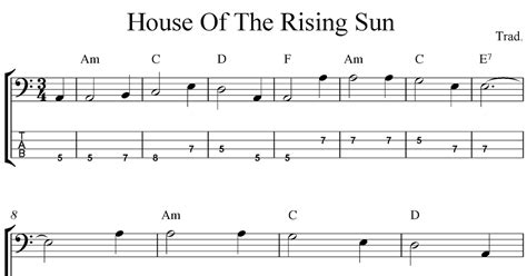 Free Bass Tab Sheet Music, House Of The Rising Sun