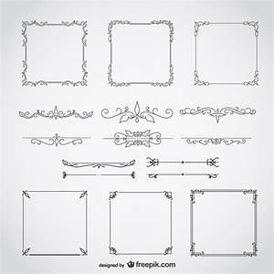 Calligraphic frames decorative floral set Vector | Free ...